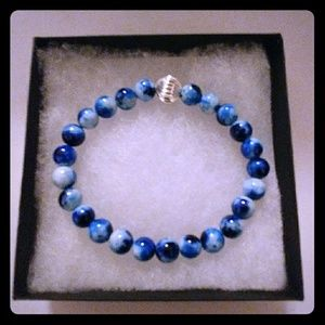 Jewelry - Navy & Blue Jade Stone Bracelet